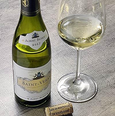 Albert Bichot Saint-Véran pullo ja lasi