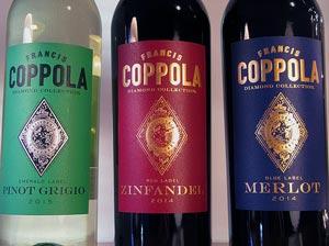 Francis Ford Coppola: pinot grigio, zinfandel ja merlot