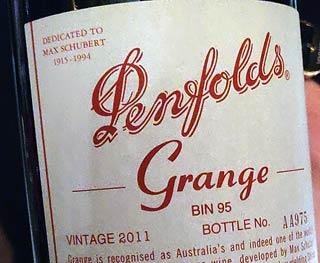 Penfolds Grange 2011 etiketti