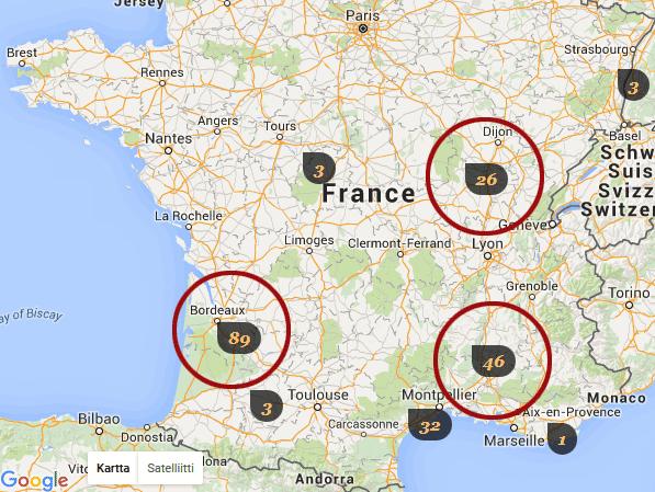 Ranskan pääviinialueet ja Alkon viinien lukumäärä alueittain