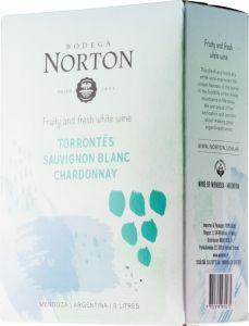 [kuva: Bodega Norton Torrontes Sauvignon Blanc Chardonnay 2019 hanapakkaus(© Alko)]