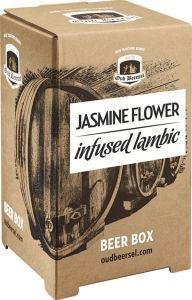 [kuva: Oud Beersel Jasmine Flower Infused Lambic hanapakkaus(© Alko)]