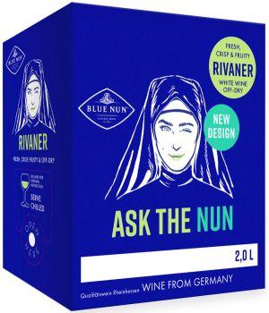 [kuva: Blue Nun Rivaner hanapakkaus(© Alko)]