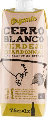 [kuva: Cerro Blanco Organic Verdejo Chardonnay kartonkitölkki(© Alko)]