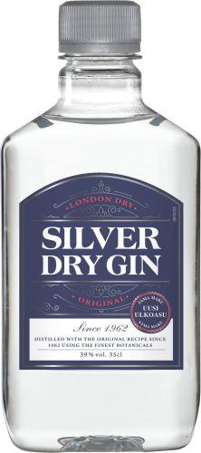 [kuva: Silver Dry Gin muovipullo(© Alko)]