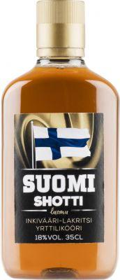 [kuva: Suomi Shotti Inkivääri-Lakritsi muovipullo(© Alko)]
