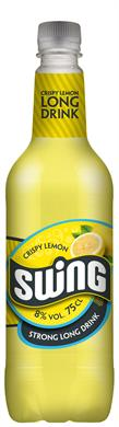 [kuva: Swing Crispy Lemon Strong Long Drink muovipullo(© Alko)]