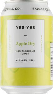 [kuva: Saimaa Yes Yes Apple Dry Non-Alc tölkki(© Alko)]