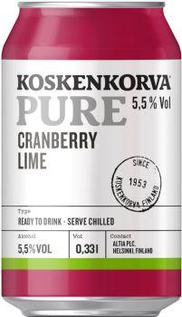 [kuva: Koskenkorva Pure Cranberry tölkki(© Alko)]