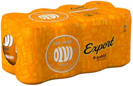 [kuva: Olvi Export A 8-pack tölkki(© Alko)]