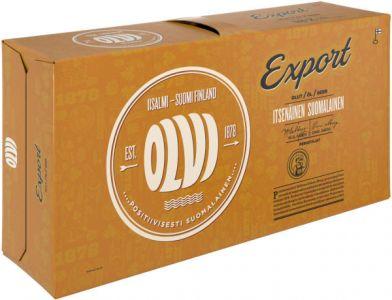 [kuva: Olvi Export A 18-pack tölkki(© Alko)]