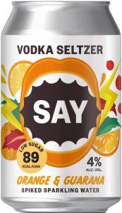 [kuva: Say Vodka Seltzer Orange & Guarana tölkki(© Alko)]
