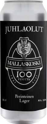 [kuva: Mallaskoski 100 Juhlaolut tölkki(© Alko)]