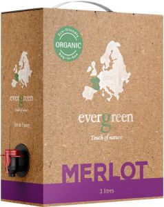 [kuva: Evergreen Organic Merlot 2018 hanapakkaus(© Alko)]