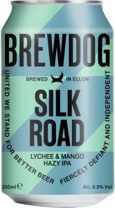 [kuva: BrewDog Silk Road Lychee & Mango Hazy IPA tölkki(© Alko)]