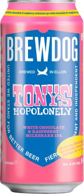 [kuva: BrewDog Tony's Hopolonely White Chocolate & Raspberry Milkshake IPA tölkki(© Alko)]