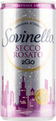 [kuva: Sovinello Secco Rosato 2Go tölkki(© Alko)]