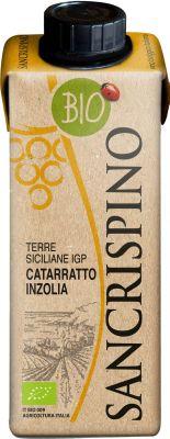 [kuva: Sancrispino Catarratto Inzolia Organic kartonkitölkki(© Alko)]