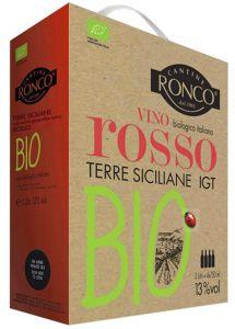 [kuva: Cantine Ronco Vino Rosso Bio hanapakkaus(© Alko)]