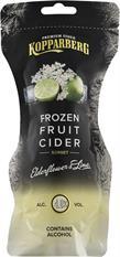 [kuva: Kopparberg Frozen Fruit Cider Elderflower & Lime  siideripussi(© Alko)]