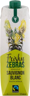 [kuva: Frisky Zebras Sensuous Sauvignon Blanc kartonkitölkki(© Alko)]
